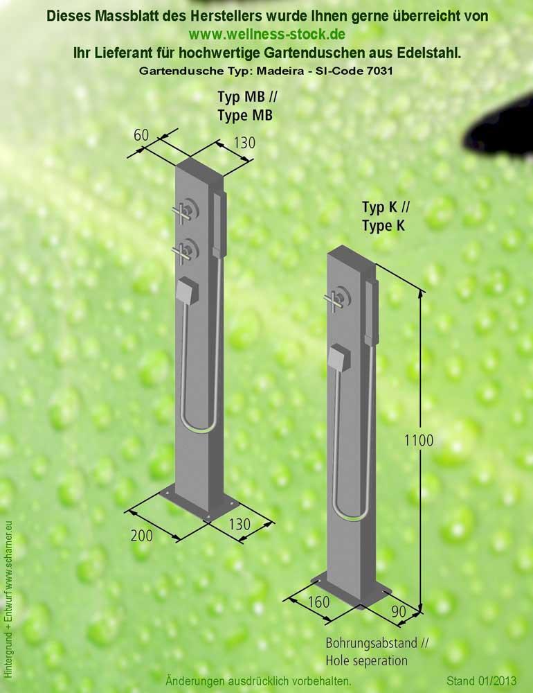 Outdoor Dusche Edelstahl : Edelstahl-Dusche Madeira Kalt- + Warmwasser f?r den Au?enbereich