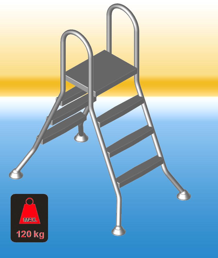 einstiegsleiter pool bis 1 50 m tiefe aus robusten edelstahl v2a. Black Bedroom Furniture Sets. Home Design Ideas