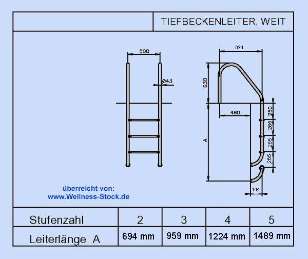 Poolleiter edelstahl 2 stufig zum einbauen am beckenrand for Poolleiter obi