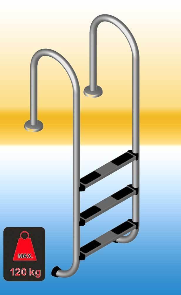 tiefbeckenleiter poolleiter aus edelstahl mit 4 leiterstufen. Black Bedroom Furniture Sets. Home Design Ideas