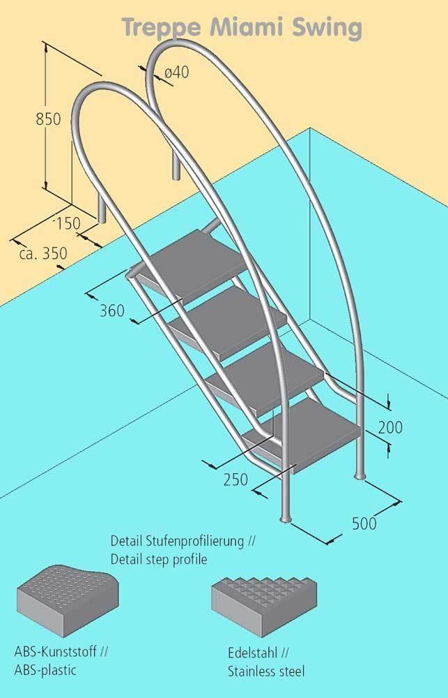 schwimmbecken treppe miami swing mit edelstahl stufen. Black Bedroom Furniture Sets. Home Design Ideas