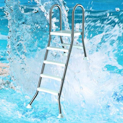 Komplett Einstiegsleiter Pool bis 1,50 m Tiefe aus robusten Edelstahl V2A. JH54